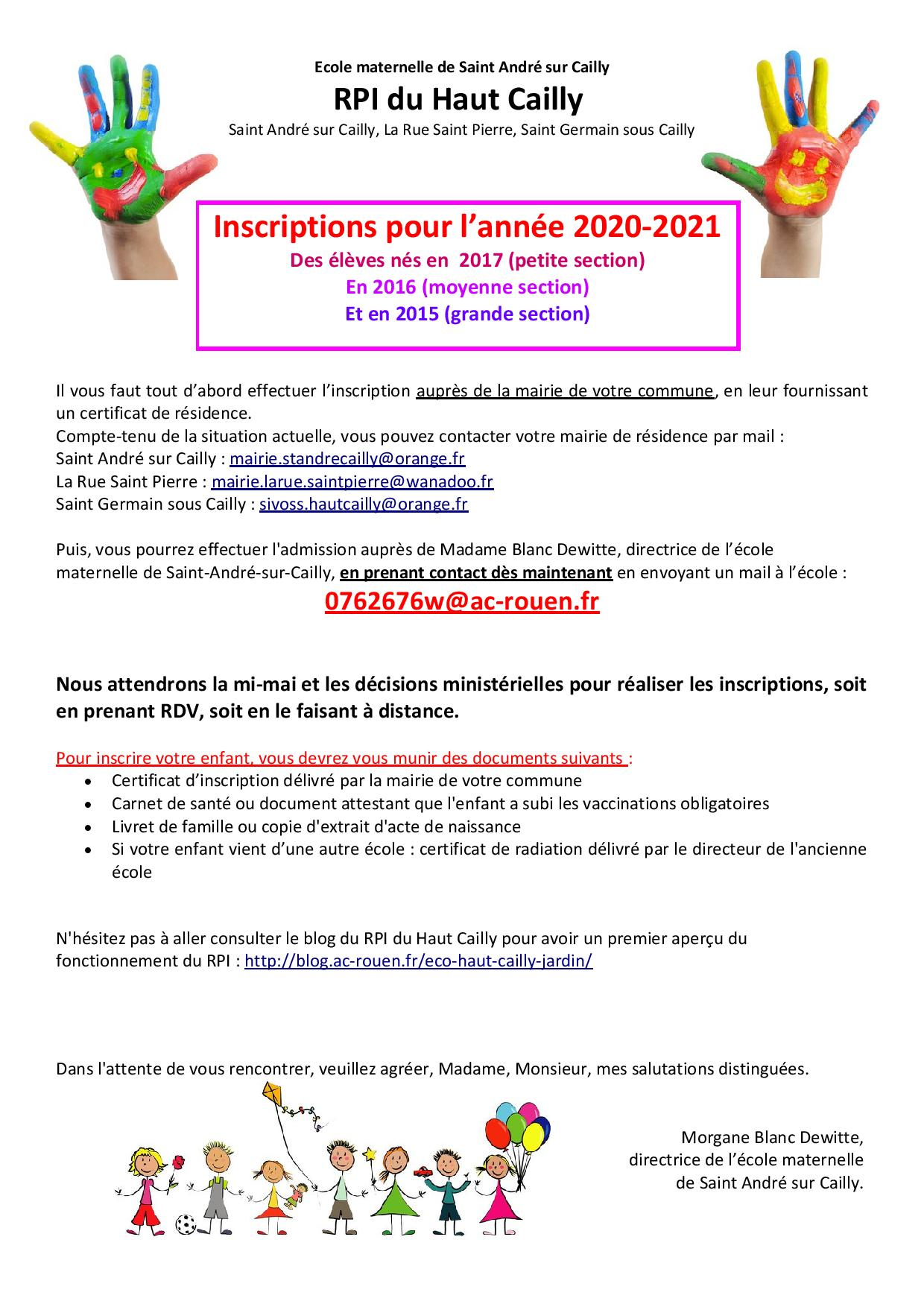 ECOLE - Inscriptions 2020