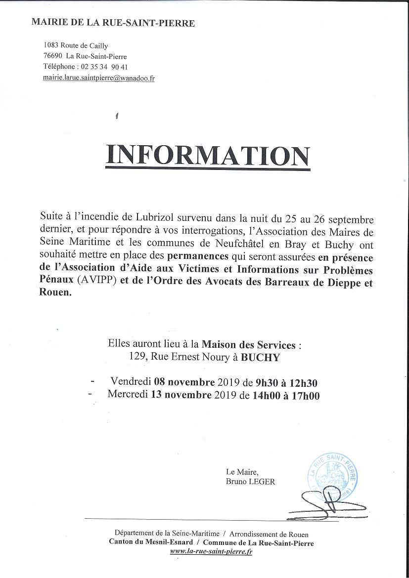 Lubrizol : permanences d'informations.