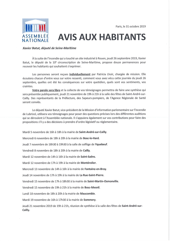 Lubrizol : permanence de Monsieur Xavier BATUT